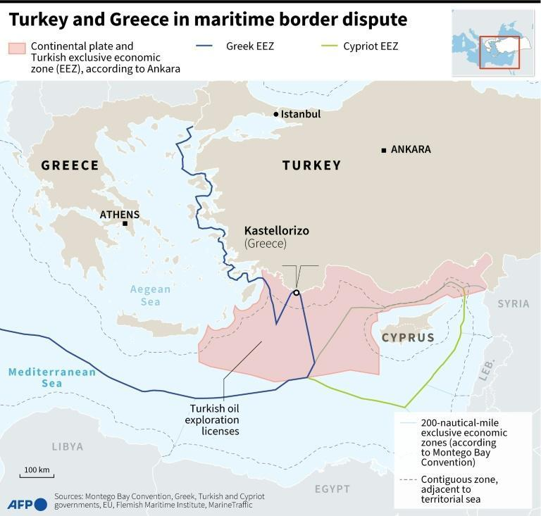 Map of the western Mediterranean with the maritime borders claims of Turkey, Greek and Cyprus