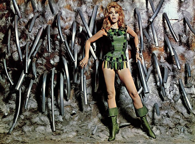 Barbarella, 1968 Costume Designers: Jacques Fonteray Intergalactic babe Barbarella may have been from the 41st century, but Roger Vadim's heroine wore the best of 1960s fashion. Though the space-age costumes are often erroneously credited to Paco Rabanne, who receives a special shoutout in the credits for inspiring the metallic catsuit worn by Jane Fonda in the final battle, the film's costume design was actually the work of Jacques Fonteray. In black-and-silver thigh-high boots, half capes, and leotards with plastic panels, Fonda's character embodied mod style at its most daring.