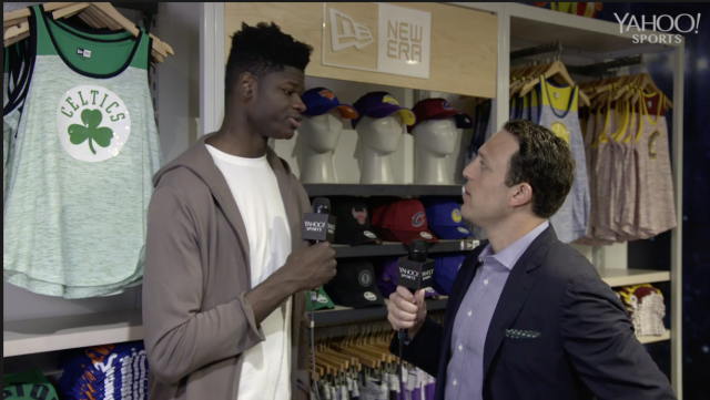 Yahoo Sports' Jordan Schultz heads over to a Fanatics fan event at the NBA Store in Manhattan to talk with the former Texas Longhorns player about the upcoming NBA draft.