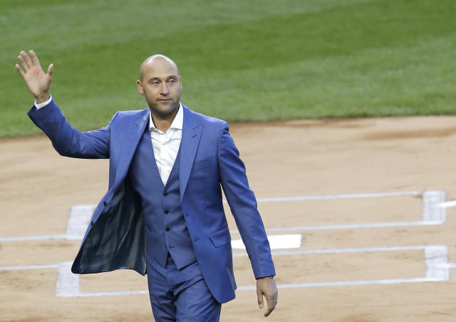 Derek Jeter at his Yankees retirement ceremony on May 14, 2017, in New York. Now he'll go from the Yankees to the Marlins, in a business role. (AP)