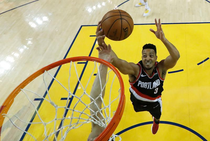 CJ McCollum finally had the chance to confront his famous Twitter troll from last summer who sparked the catch phrase of the NBA offseason. (AP)