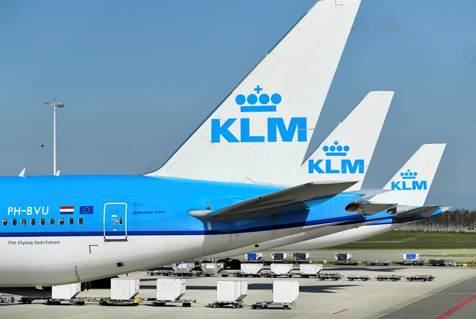 KLM airplanes parked at Schiphol Airport