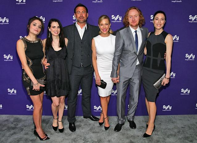 "Stephanie Leonidas, Mia Kirshner, Grant Bowler, Julie Benz, Tont Curran and Jaime Murray (""Defiance"") attend the Syfy 2013 Upfront at Silver Screen Studios at Chelsea Piers on April 10, 2013 in New York City."