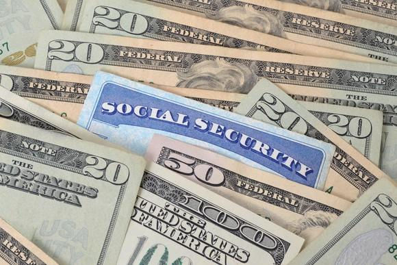 One Social Security card mixed in with U.S. currency.