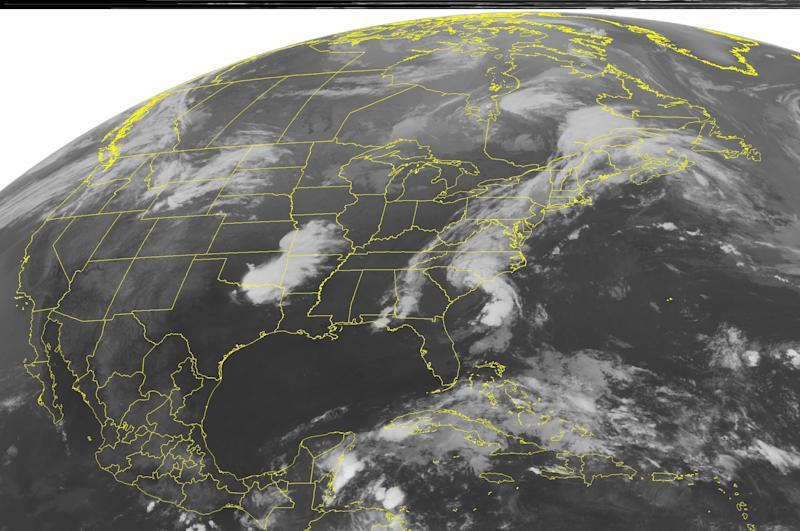 This NOAA satellite image taken Wednesday, May 30, 2012 at 4:45 a.m. EDT shows cloud cover along the East Coast as the remains of tropical storm Beryl move through the region dropping heavy rain.  The Northeast also sees heavy cloud cover as Tuesday\'s severe thunderstorm outbreak dies down.  More clouds are noted in the Southern Plains where more severe weather was reported on Tuesday. (AP PHOTO/WEATHER UNDERGROUND)