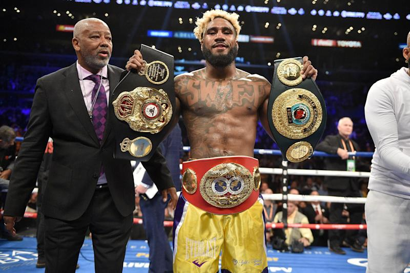 Jarrett Hurd defeats Jason Welborn during the WBA, IBF, IBO Super Welterweight Championship bout at the Staples Center in Los Angeles. PRESS ASSOCIATION Photo. Picture date: Saturday December 1, 2018. See PA story BOXING Los Angeles. Photo credit should read: Lionel Hahn/PA Wire (Photo by Lionel Hahn/PA Images via Getty Images)