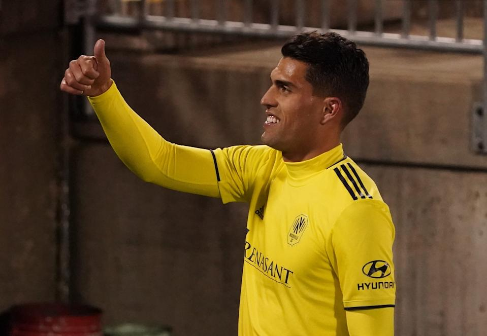Daniel Rios reacts as he exits the field after defeating Toronto FC extra time in the Eastern Conference playoffs.