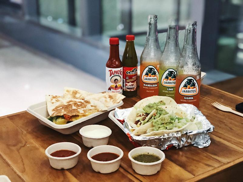 Quesadillas, tacos, and beverages at Mad Mex. Photo: Coconuts Singapore