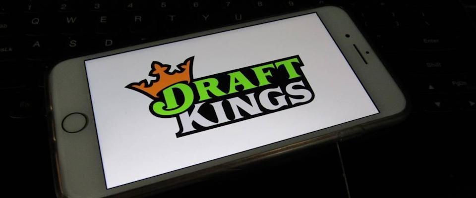 View of DraftKings app on a smartphone.