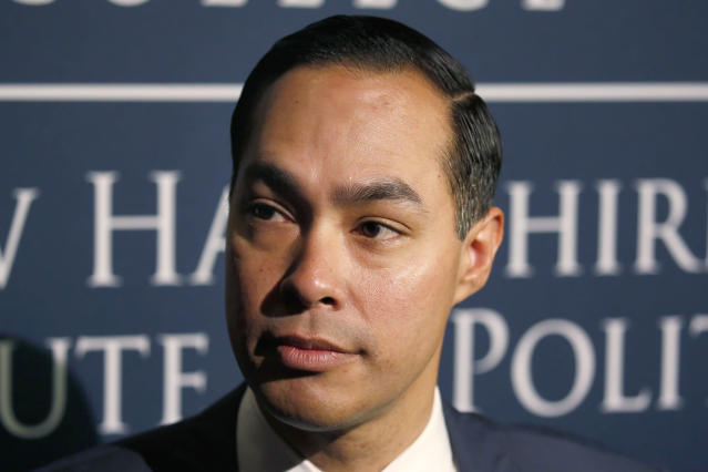 Julian Castro, former U.S. Secretary of Housing and Urban Development and candidate for the 2020 Democratic presidential nomination, speaks to the media at Saint Anselm College, Wednesday, Jan. 16, 2019, in Manchester, N.H. (AP Photo/Mary Schwalm)