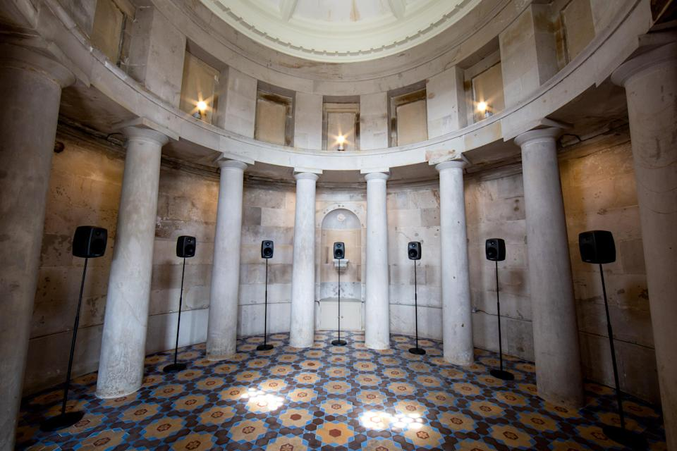 Speakers have been set up inside the monument for the installation. (University of Edinburgh/PA)
