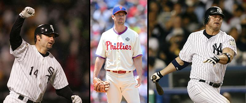 Paul Konerko, Cliff Lee and Jason Giambi fall off the Hall of Fame ballot after not getting five percent of the vote. (Getty Images)