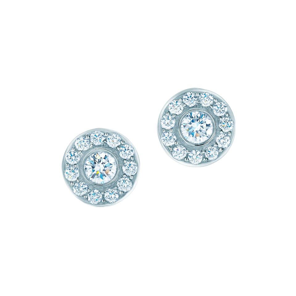 "Turn the volume up with these <a href=""https://www.tiffany.com/jewelry/earrings/tiffany-circlet-earrings-19546535/"">diamonds-circled-by-diamonds</a> from Tiffany & Co."