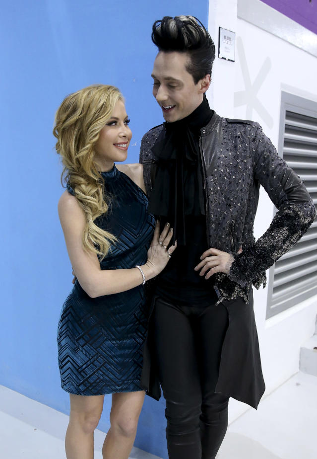 <p>Tara Lipinski and Johnny Weir pose following the Figure Skating Men's Short Program at the PyeongChang 2018 Winter Olympic Games on Feb. 16, 2018, in South Korea. (Photo by Jean Catuffe/Getty Images) </p>