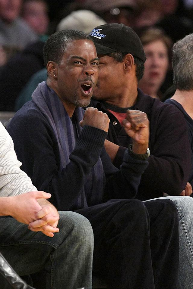 """Chris Rock gets excited while watching the Lakers battle the Knicks at the Staples Center in downtown Los Angeles. Noel Vasquez/<a href=""""http://www.gettyimages.com/"""" target=""""new"""">GettyImages.com</a> - December 16, 2008"""
