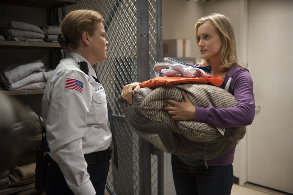 "Catherine Curtain and Taylor Schilling in a scene from Netflix's ""Orange is the New Black."""