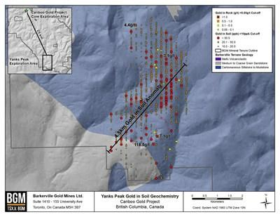 Figure 3: Surface Geochemical Sampling on the Newly Acquired Yanks Peak Trend. (CNW Group/Barkerville Gold Mines Ltd.)