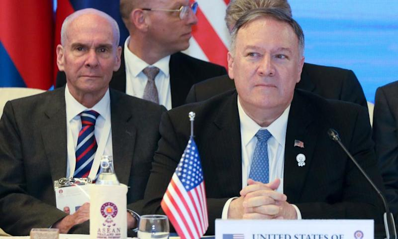 Michael McKinley and Mike Pompeo during a meeting in Bangkok, Thailand 1 August 2019.