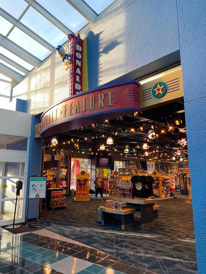 A view of the Donald's Double Feature gift shop at Disney World's All-Star Movies resort.