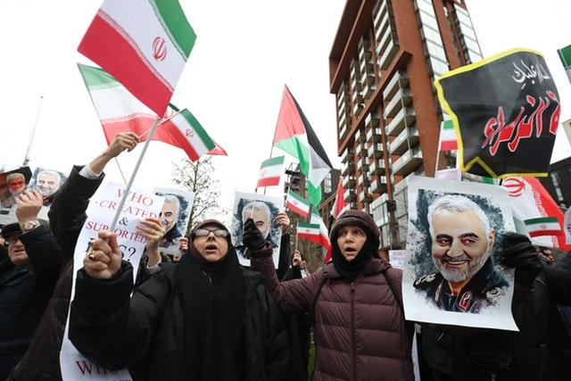 Protesters demonstrate outside the US Embassy in London