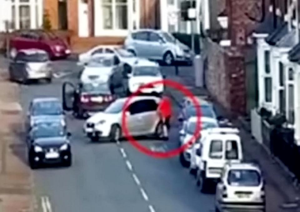 As the victim tried to flee in a silver hatchback, Clark and the driver of a Volvo rammed the car. (SWNS)