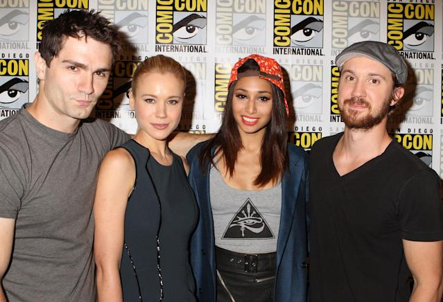"Sam Witwer, Kristen Hager, Meaghan Rath and Sam Huntington at Syfy's ""Being Human"" Press Room and Panel during San Diego Comic-Con, July 20, 2013."