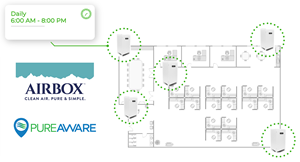 AirBox has partnered with PureAware to allow commercial customers to control, program, and schedule their entire fleet of air purifiers to improve energy efficiency, optimize longevity of the filters, reduce maintenance hours and monitor that the purifiers are on and working properly.