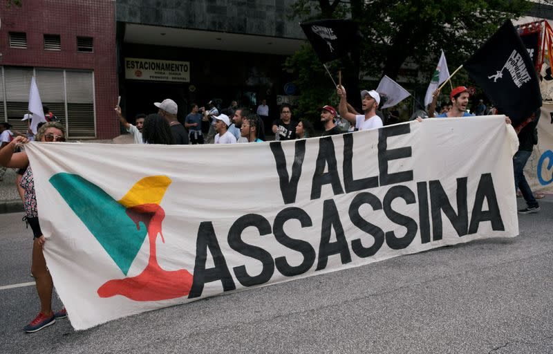 FILE PHOTO: People march to Brumadinho city, as they protest against the Brazilian mining company Vale SA, in Belo Horizonte