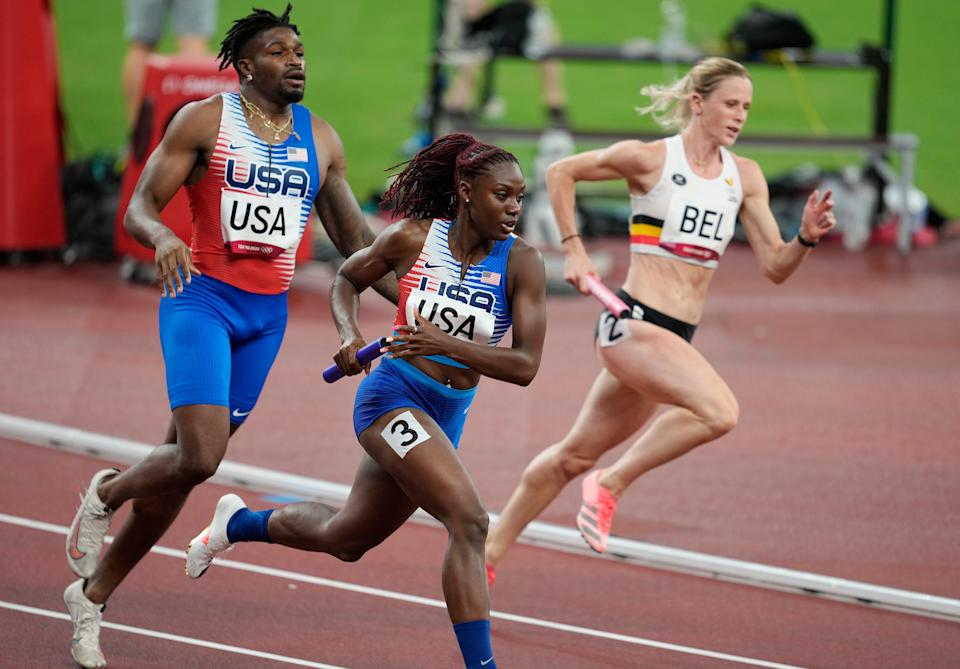 Lynna Irby (USA) competes in the 4x400 relay mixed qualification round 1 heat 1during the Tokyo 2020 Olympic Summer Games at Olympic Stadium.