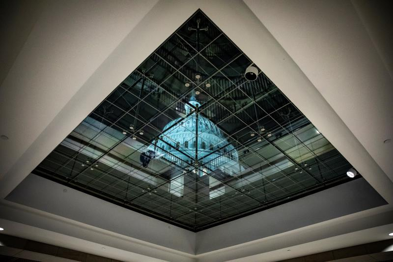 The US Capitol is seen through the skylight above the stairwell that leads to the Sensitive Compartmented Information Facility (SCIF) where the House Permanent Select Committee on Intelligence held a closed door meeting on Capitol Hill in Washington, DC, USA, 03 December. EFE/EPA/SAMUEL CORUM