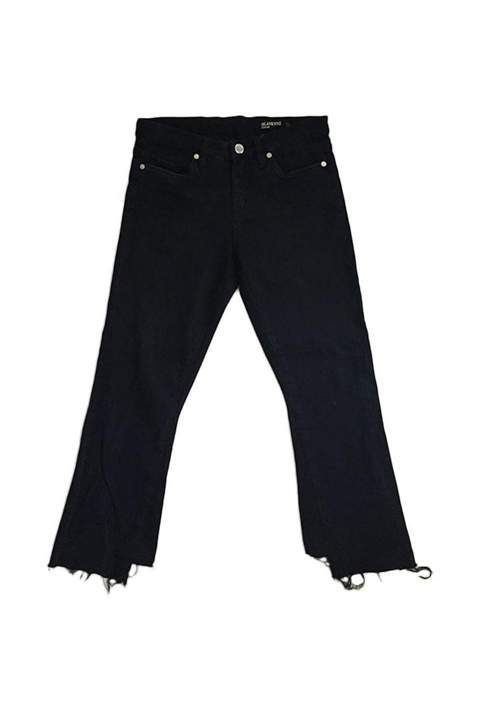 """<p>Kick flares are to your ankles as twirly skirts are to your body as a whole. </p><p><strong>BUY IT:</strong> Blank NYC, $88; <a href=""""http://www.blanknyc.com/store/women/womens-jeans/womens-flare-jeans/cropped-flare/denim-37.html?color=back-to-basics"""" rel=""""nofollow noopener"""" target=""""_blank"""" data-ylk=""""slk:blanknyc.com"""" class=""""link rapid-noclick-resp"""">blanknyc.com</a>.</p>"""
