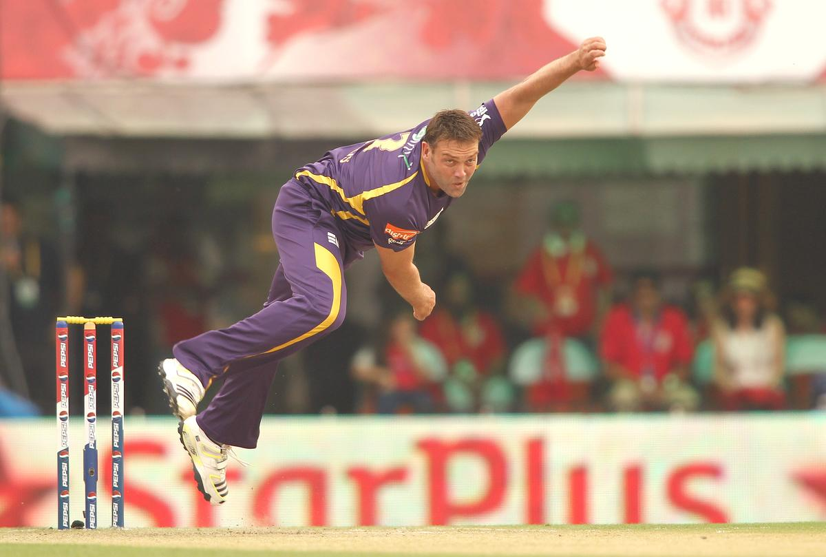 Jacques Kallis of Kolkata Knight Riders sends down a delivery during match 20 of the Pepsi Indian Premier League between The Kings XI Punjab and the Kolkata Knight Riders held at the PCA Stadium, Mohal, India  on the 16th April 2013..Photo by Shaun Roy-IPL-SPORTZPICS  ..Use of this image is subject to the terms and conditions as outlined by the BCCI. These terms can be found by following this link:..https://ec.yimg.com/ec?url=http%3a%2f%2fwww.sportzpics.co.za%2fimage%2fI0000SoRagM2cIEc&t=1498282584&sig=DEUki.bgAeHZ8OI1czkC9g--~C