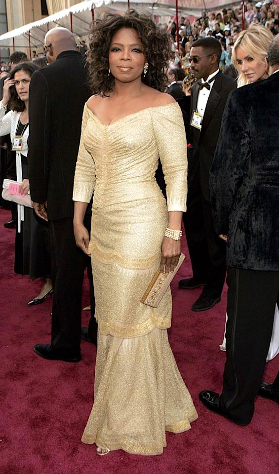 "<b>Chic Neutrals</b>   Shades of blush, white, and sand are some of Oprah's go-to's when she's getting glammed up for a red carpet event.    The talk show host attended the 77th Annual Academy Awards in 2005.    <a href=""http://www.instyle.com/instyle/package/general/photos/0,,20294121_20293526_20649515,00.html?xid=omg-10hairstyles?yahoo=yes"" target=""new"">10 Hairstyles That Are Always In Style</a>   Kevin Mazur/<a href=""http://www.wireimage.com"" target=""new"">WireImage.com</a> - February 27, 2005"
