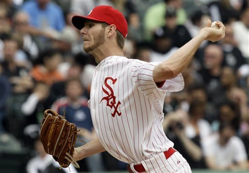 Chicago White Sox starter Chris Sale delivers a pitch against the Detroit Tigers during the fifth inning of a baseball game in Chicago, Sunday, April 15, 2012. The Tigers won 5-2. (AP Photo/Nam Y. Huh)