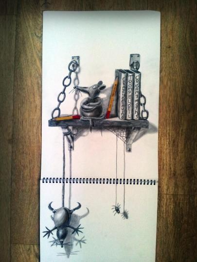 """<b>Bookshelf rats:</b> His works meander from modern-expressionism to wild airbrush designs; from photorealism to 3D optical illusion drawings. <br> <br> <a href=""""http://www.jjkairbrush.nl/home/"""" rel=""""nofollow noopener"""" target=""""_blank"""" data-ylk=""""slk:(Courtesy of Ramon Bruin)"""" class=""""link rapid-noclick-resp"""">(Courtesy of Ramon Bruin)</a>"""