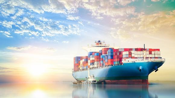 A giant containership at sea.