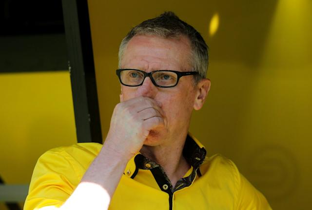 Soccer Football - Bundesliga - Borussia Dortmund vs 1.FSV Mainz 05 - Signal Iduna Park, Dortmund, Germany - May 5, 2018 Borussia Dortmund coach Peter Stoeger before the match REUTERS/Leon Kuegeler DFL RULES TO LIMIT THE ONLINE USAGE DURING MATCH TIME TO 15 PICTURES PER GAME. IMAGE SEQUENCES TO SIMULATE VIDEO IS NOT ALLOWED AT ANY TIME. FOR FURTHER QUERIES PLEASE CONTACT DFL DIRECTLY AT + 49 69 650050
