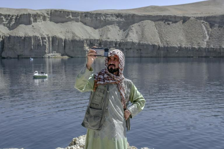 The beautiful blue waters of the Band-e Amir lakes are once again attracting Afghan tourists (AFP/BULENT KILIC)