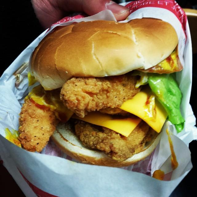 """<p><strong>What is it:</strong> A juicy, lightly breaded crispy chicken breast with crunchy lettuce, tomato, mayo, and the perfect pickles, all on a toasted bun. It's a flawless blend of nostalgia and excitement—kinda like your all-time favourite song, only better 'cause you can eat it.</p><p><strong>Why it's top tier: </strong>You just can't argue with breaded chicken and cheese in a bun.</p><p><a href=""""https://www.instagram.com/p/ygernaxcdz/"""" rel=""""nofollow noopener"""" target=""""_blank"""" data-ylk=""""slk:See the original post on Instagram"""" class=""""link rapid-noclick-resp"""">See the original post on Instagram</a></p>"""