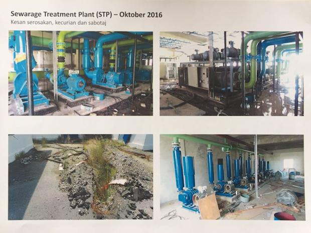 Photos showing damages to the sewage treatment plant.