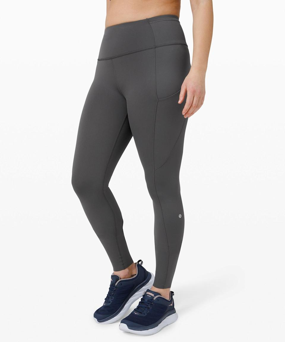 """<h3>Lululemon Fast and Free Tight 28"""" Non-Reflective</h3> <br>You may not love the idea of full-length, form-fitting leggings in hot weather, but these Lululemons are breathable enough to keep you cool and protected from <a href=""""https://www.refinery29.com/en-us/best-mosquito-bug-repellant-products"""" rel=""""nofollow noopener"""" target=""""_blank"""" data-ylk=""""slk:pesky bug bites"""" class=""""link rapid-noclick-resp"""">pesky bug bites</a>, itchy grass, and IDK, snakes.<br><br><strong>lululemon</strong> Fast and Free Tight 28"""" Non-Reflective, $, available at <a href=""""https://go.skimresources.com/?id=30283X879131&url=https%3A%2F%2Fshop.lululemon.com%2Fp%2Fwomen-pants%2FFast-And-Free-FL-Tight-NR%2F_%2Fprod9310068%3Fcolor%3D34115"""" rel=""""nofollow noopener"""" target=""""_blank"""" data-ylk=""""slk:lululemon"""" class=""""link rapid-noclick-resp"""">lululemon</a><br>"""