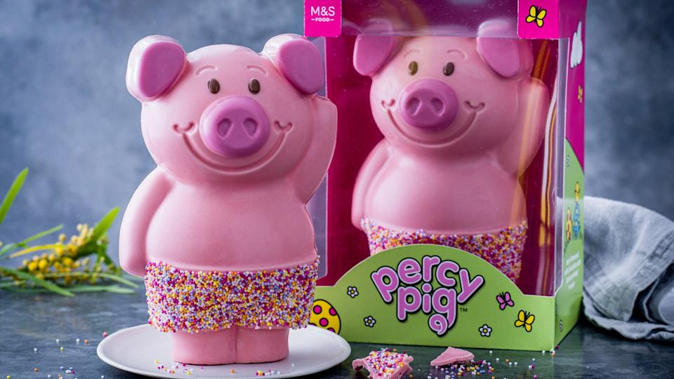 M&S Percy Pig giant Easter egg super cute strawberry & raspberry flavour white chocolate hollow