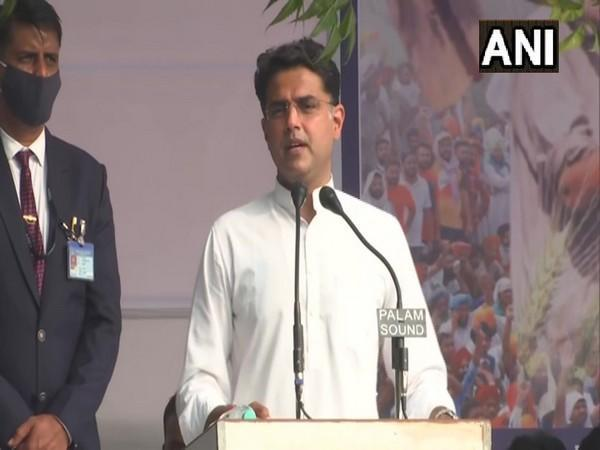 Congress leader Sachin Pilot addressing a rally in Jaipur in support of farmers protesting the new farm laws. (Photo/ANI)