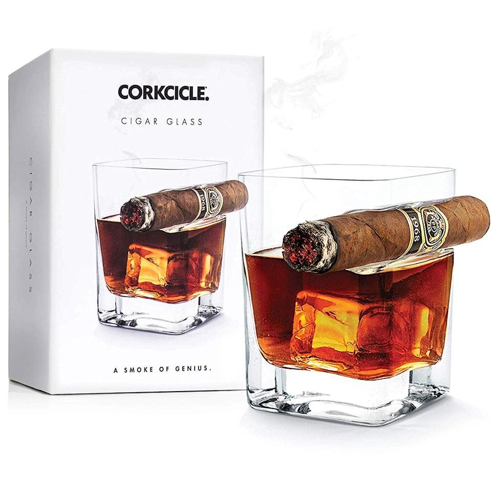 <p>Part gag gift, part useful invention, this <span>Corkcicle Cigar Glass</span> ($29) has a built-in ledge for a cigar, which is so fun.</p>