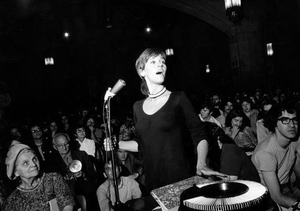 <p>Fonda is photographed presenting personal photos from her trip to Vietman (she was an activist in the counterculture era during the Vietnam War) at Riverside Church in New York.<br></p>