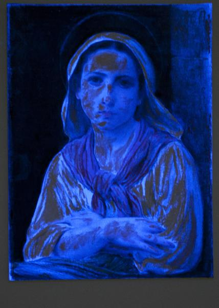 A black light shows the deception behind a forgery by art forger Mark A. Landis, of Laurel, Miss. of an original work by 19th-century French painter William-Adolphe Bouguereau, at the University of Cincinnati in Cincinnati, Ohio on Tuesday, March 27, 2012. The work of the convincing art forger who has spent nearly three decades copying artists like Picasso and donating his fake art to unsuspecting museums goes on display April Fool's Day. The University of Cincinnati exhibit will explore the problem of art forgery through a look at the unusual story of Landis. (AP Photo/Dottie Stover-University of Cincinnati)