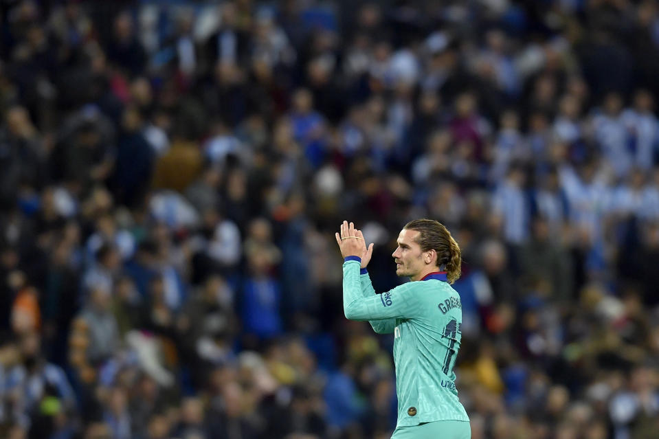 Il Barcellona acquista dall'Atletico Madrid Antonie Griezmann per 120 milioni. (AP Photo/Alvaro Barrientos)