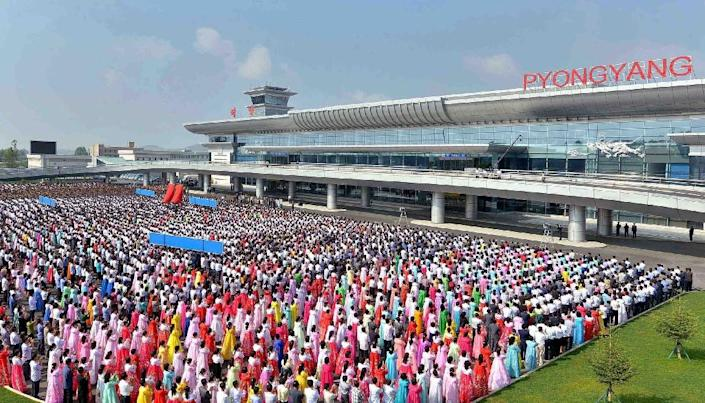 The opening ceremony for the new airport terminal for Pyongyang International Airport takes place in the North Korean capital on July 1, 2015 (AFP Photo/-)