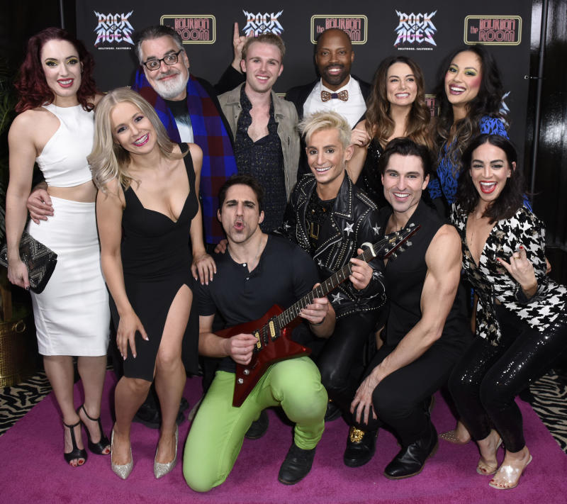 Frankie Grande and the cast of 'Rock of Ages' at Hollywood's Bourbon Room. (Photo: Vivien Killilea/Getty Images for Rock of Ages Hollywood)