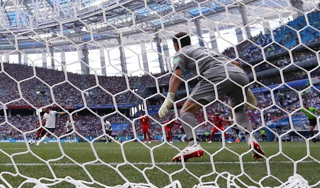 <p>England's Harry Kane scores their second goal from the penalty spot past Panama's Jaime Penedo REUTERS/Carlos Barria </p>